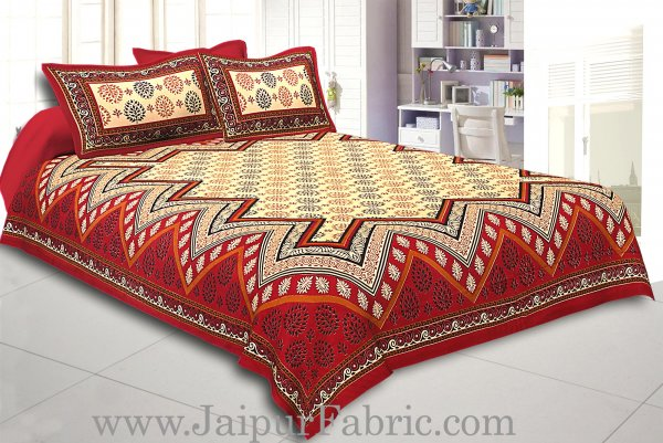 Maroon Border Cream Base In Zig Zag Pattern  Bagru Print Cotton Double Bedsheet