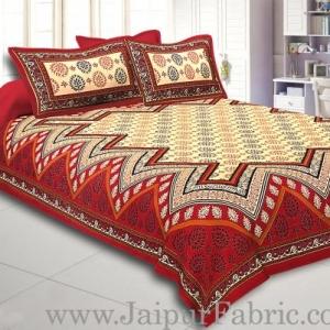 Maroon Border Cream Base In Zig Zag Pattern  Bagru Print Cotton Double Bedsheet