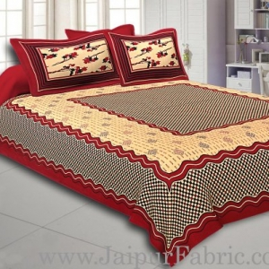 Maroon Border Cream Base With Small Maroon And Black Checks  Bagru Print Cotton Double Bedsheet