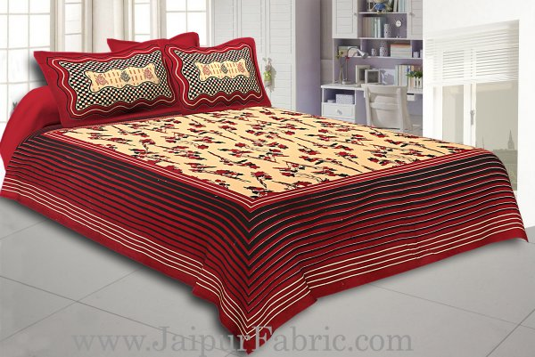 Maroon And Black Lining Border Cream Base Floral Pattern In   Bagru Print Cotton Double Bedsheet