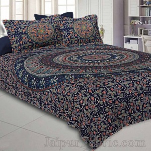 Navy Blue Mandala Bedsheet Tapestry Floral Print With 2 Pillow Covers