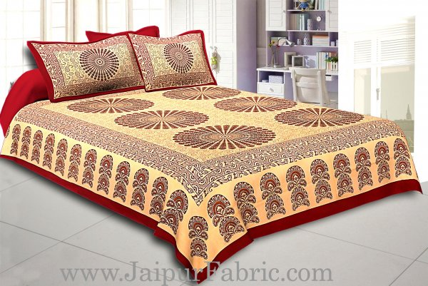 Maroon Border Cream Base  Large Circle With Leaf  Black Checks  Bagru Print Cotton Double Bedsheet