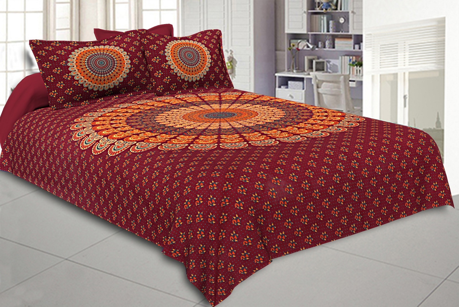 Crimson Red Mandala Bedsheet Tapestry Floral Print With 2 Pillow Covers