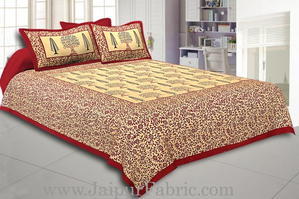 Maroon Border Cream Base  Small Tree Pattern In  Bagru Print Cotton Double Bedsheet