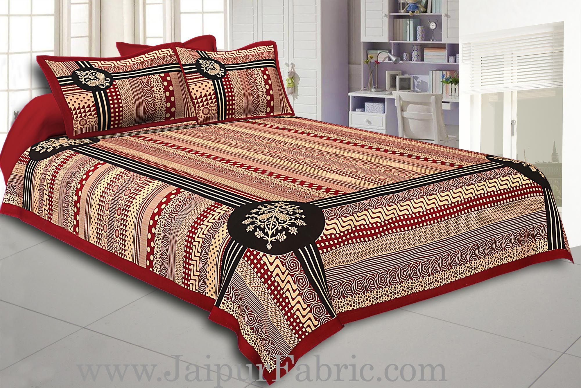 Maroon Border Cream Base  Rectangle Pattern With Black Lining In  Bagru Print Cotton Double Bedsheet