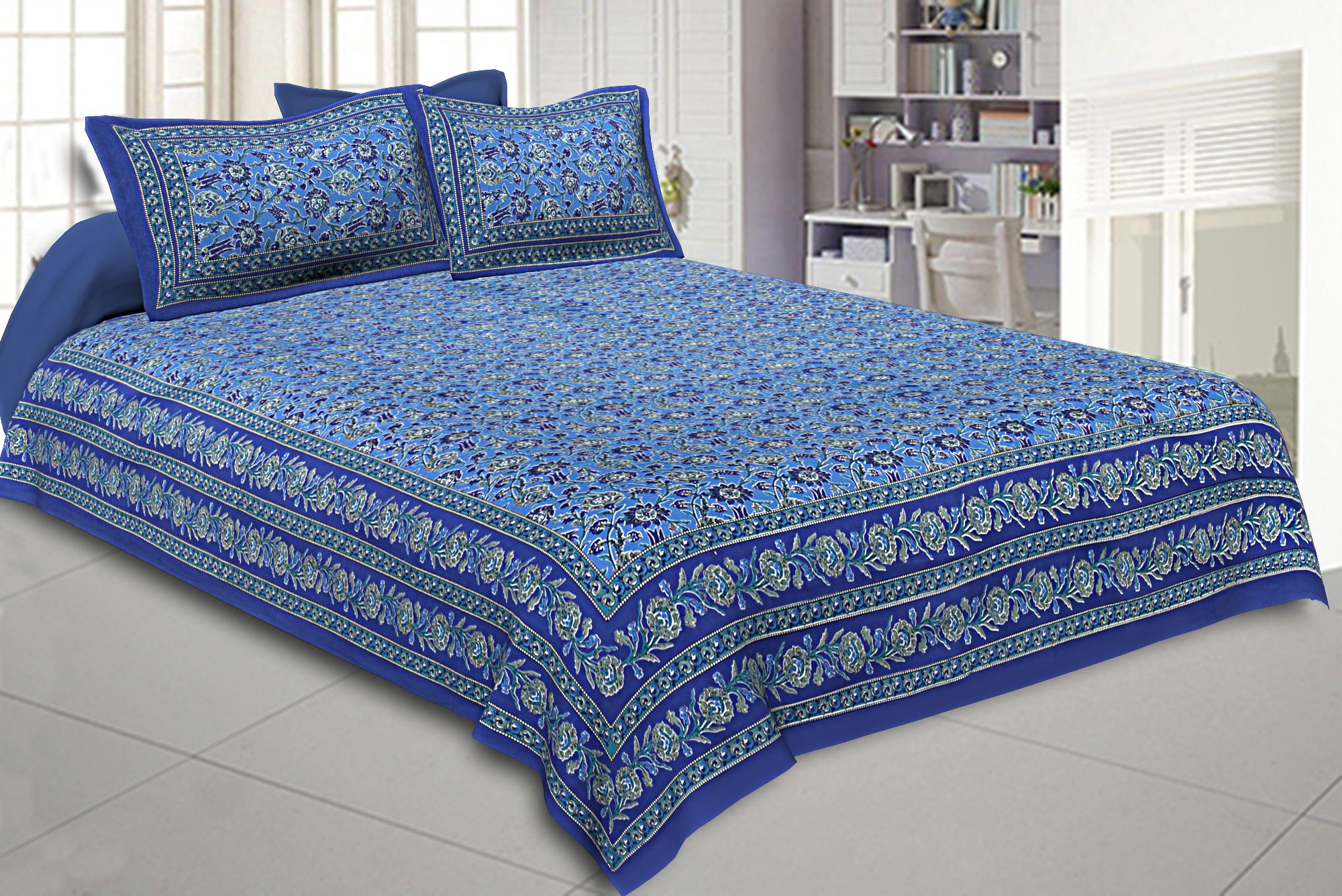 Double Bedsheet Azure Blue Floral Bud Jaal Print With 2 Pillow Covers