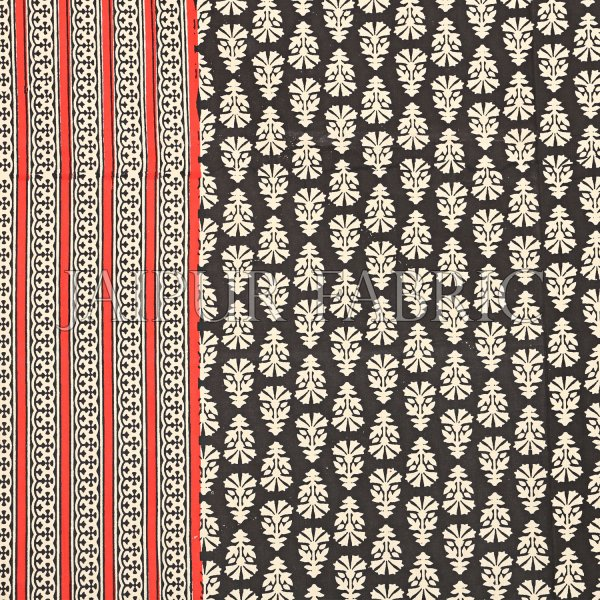 Black Border With Red And Cream Lining Black Base With Cream Flower Super Fine Cotton Double Bed Sheet