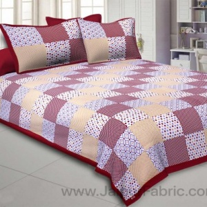 Maroon Polka Checks Double Bedsheet