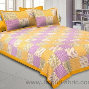 Yellow Polka Checks Double Bedsheet