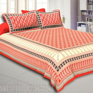 Orange And Cream Border With Long Leaf Pattern Double Bed Sheet With 2 Pillow Cover