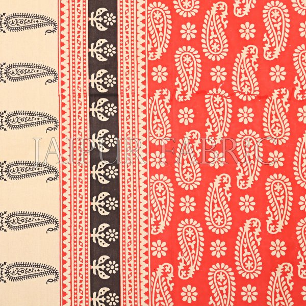 Orange And Cream Border With Long Leaf Pattern Single Bed Sheet With 2 Pillow Cover
