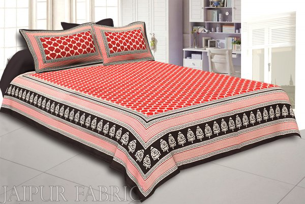 Black Border Red Base Flower Print Super Fine Cotton Double Bedsheet