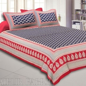 Red Border With Red And Cream Linning Cream Base Flower Super Fine Cotton Double Bed Shet