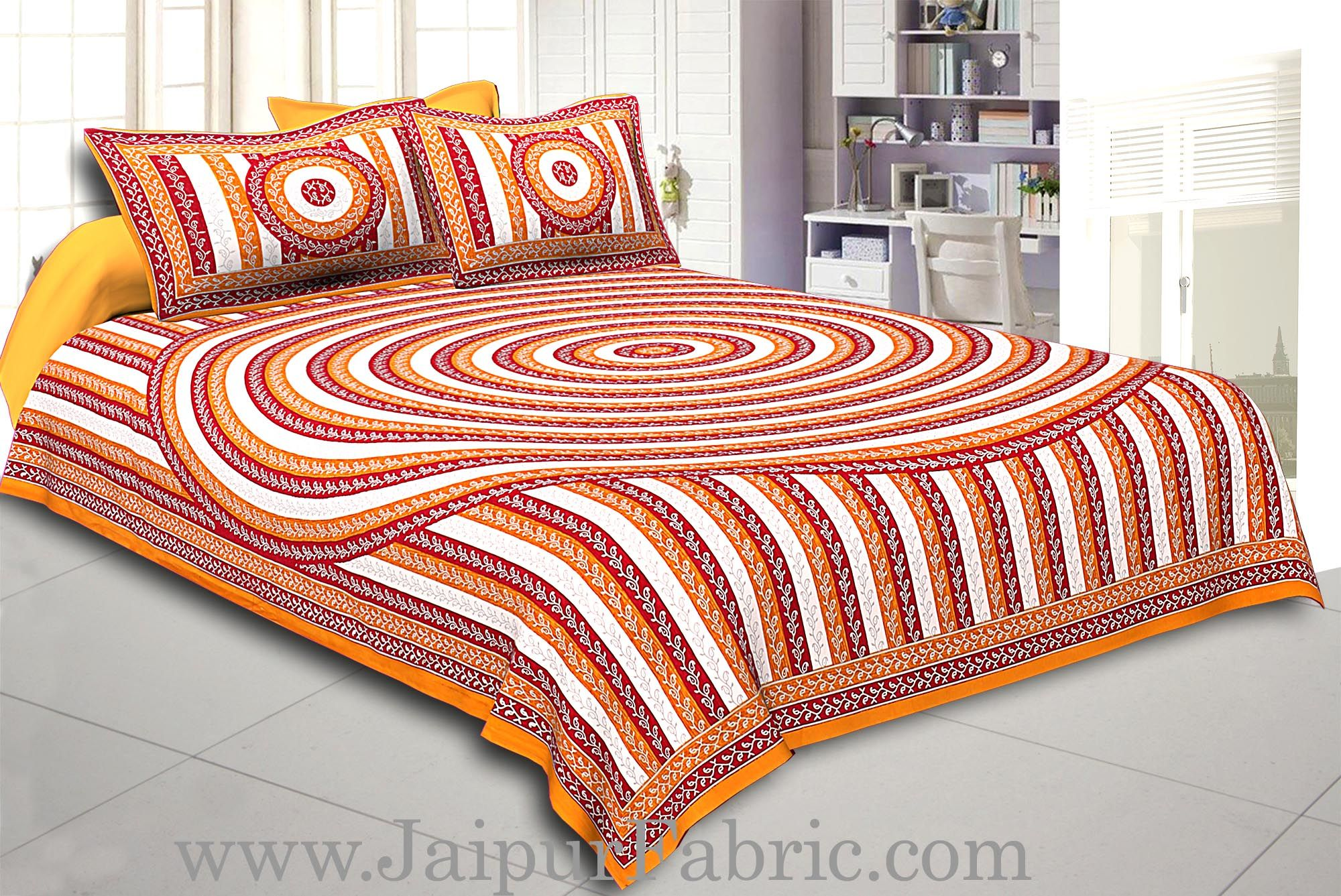 Orange Border Cream Base Circle Pattern With Silver Print Super Fine Cotton Doube Bed Sheet