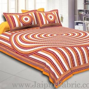 Orange Border Cream Base Circle Pattern With Silver Print Super Fine Cotton Doube Bed Sheet