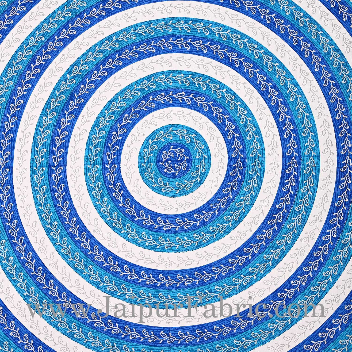 Blue Border Cream Base Circle Pattern With Silver Print Super Fine Cotton Doube Bed Sheet