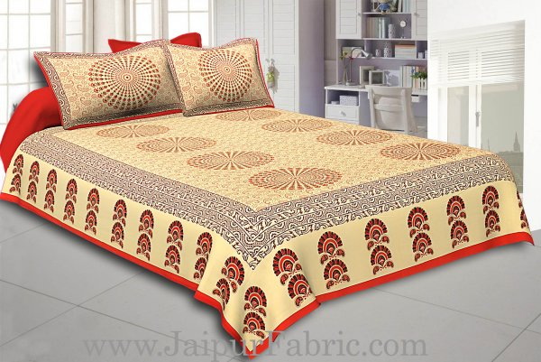 Orange Border Cream Base Rangoli Pattern With Golden Print Super Fine Cotton Double Bed Sheet
