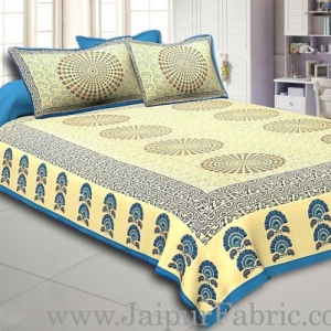 Blue Border Cream Base Rangoli Pattern With Golden Print Super Fine Cotton Double  Bed Sheet