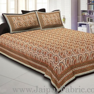 Black Border Cream Base Maroon & Blue  Paisley Pattern With Golden Print Super Fine Cotton Double Bed Sheet