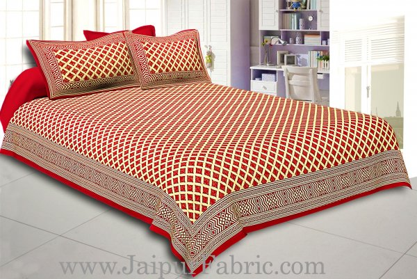 Maroon  Border Cream Base  Retro Pattern With Golden Print Super Fine Cotton Double Bed Sheet