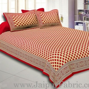 Maroon  Border Cream Base  Retro Pattern With Golden Print Super Fine Cotton Double Bed Sheet