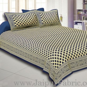 Blue Border Cream Base  Ratro Patternt With Golden Print Super Fine Cotton Doubelbed Sheet