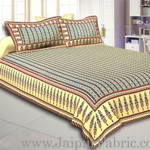 Multi Colored Border Cream Base With Blue Strip Pattern With Golden Print Super Fine Cotton Double Bed Sheet