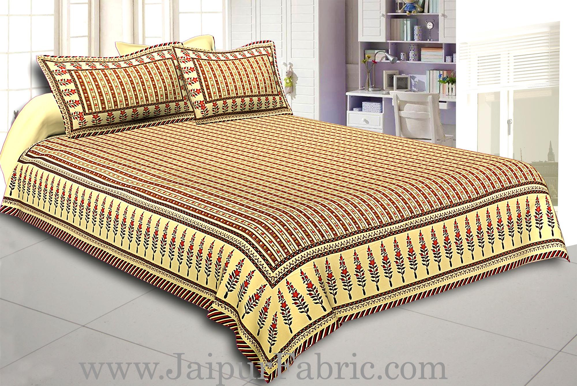 Multi Colored Border Cream Base With Maroon Strip Pattern With Golden Print Super Fine Cotton  Double Bed Sheet