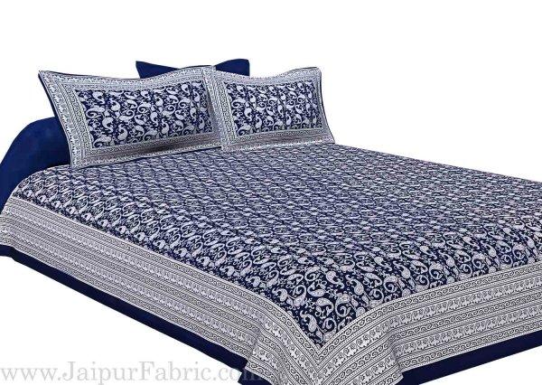 Navy Blue Border Base Karry Design Super Fine Cotton Double Bedsheet