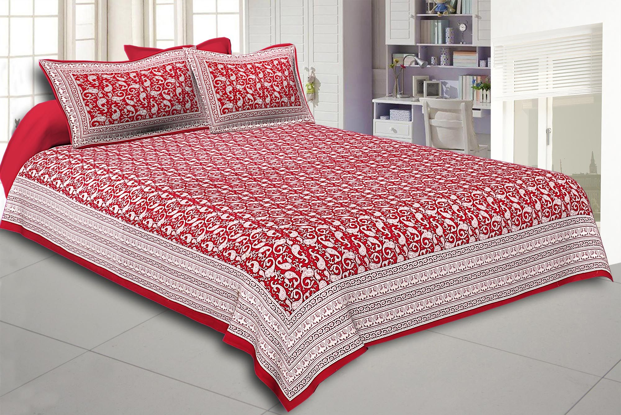 Maroon Border Base Karry Design Super Fine Cotton Double Bedsheet