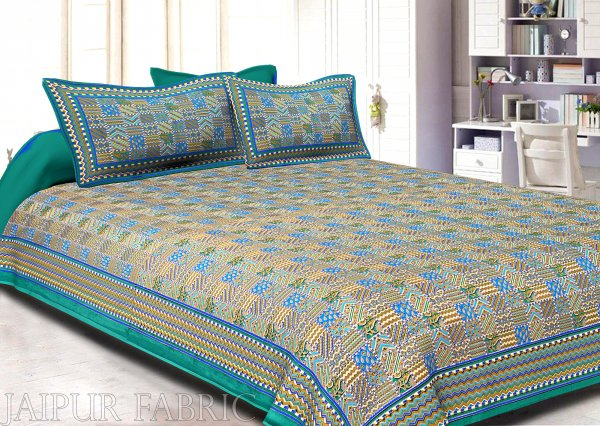 Rama Green Border Small Designer Checks Golden Print  Super Fine Cotton Double Bedsheet
