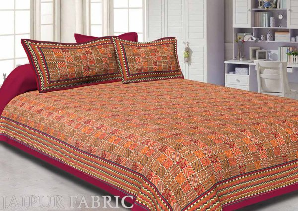 Maroon Border Small Designer Checks Golden Print  Super Fine Cotton Double Bedsheet