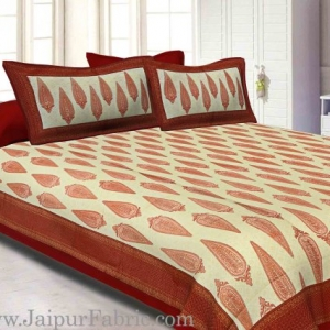 King Size Bedsheet Radish Pink Border Golden Paisley Print With Two Pillow Cover