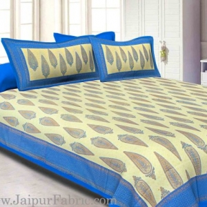 King Size Bedsheet Blue Border Golden Paisley Print With Two Pillow Cover