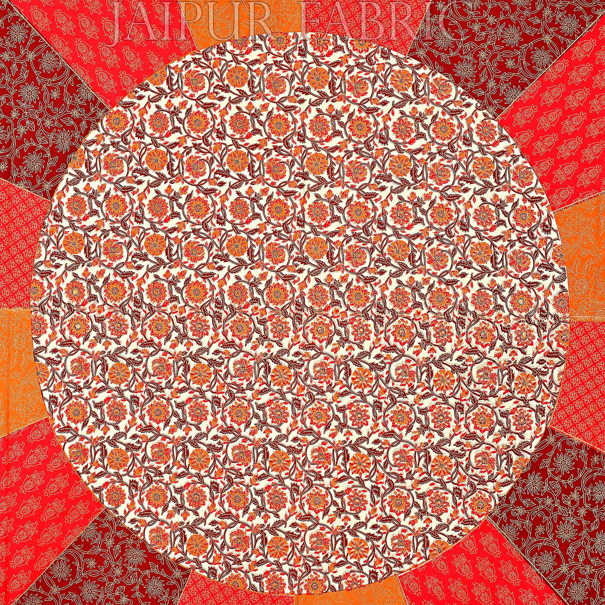 Radish Orange Border Cream Circle Flower And chakri Pattern With Golden Print Super Fine  Cotton Double Bedsheet