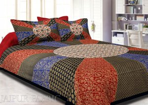 Black Border Cream Circle Flower And chakri Pattern With Golden Print Super Fine Cotton Double Bedsheet