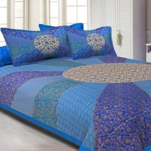 Firozi Border Cream Circle Flower And chakri Pattern With Golden Print Super Fine Cotton Double Bedsheet
