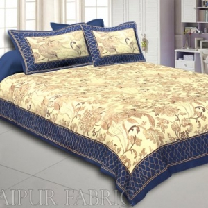 Navy Blue Border With Cream Base Golden Pattern Super Fine Cotton Double Bedsheet