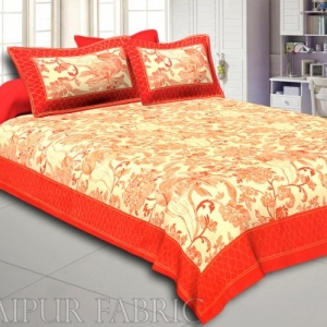 Orange Border With Cream Base Golden Pattern Super Fine Cotton  Double Bedsheet