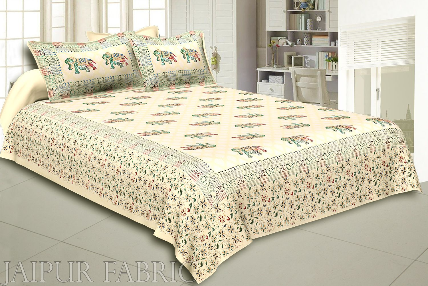 Cream Base Satrangi Gold Print With Elephant Super Fine Cotton Double Bedsheet