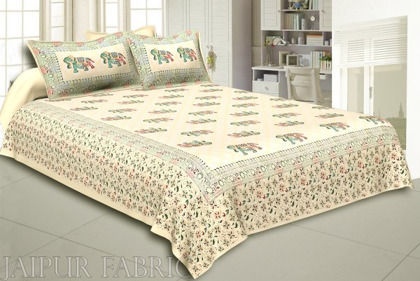 Cream Base Satrangi Gold Print With Elephant Super Fine Double Bedsheet