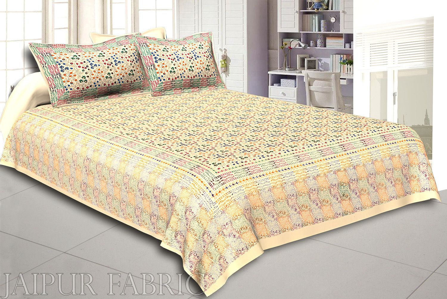 Cream Base Satrangi Gold Print With Flower And Rangoli Pattern  Super Fine Double Bedsheet