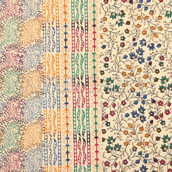 Cream Base Satrangi Gold Print With Flower And Rangoli Pattern  Super Fine Double Bedsheet