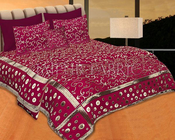 Magenta Color Tropical Design Festive Double Bed Sheet