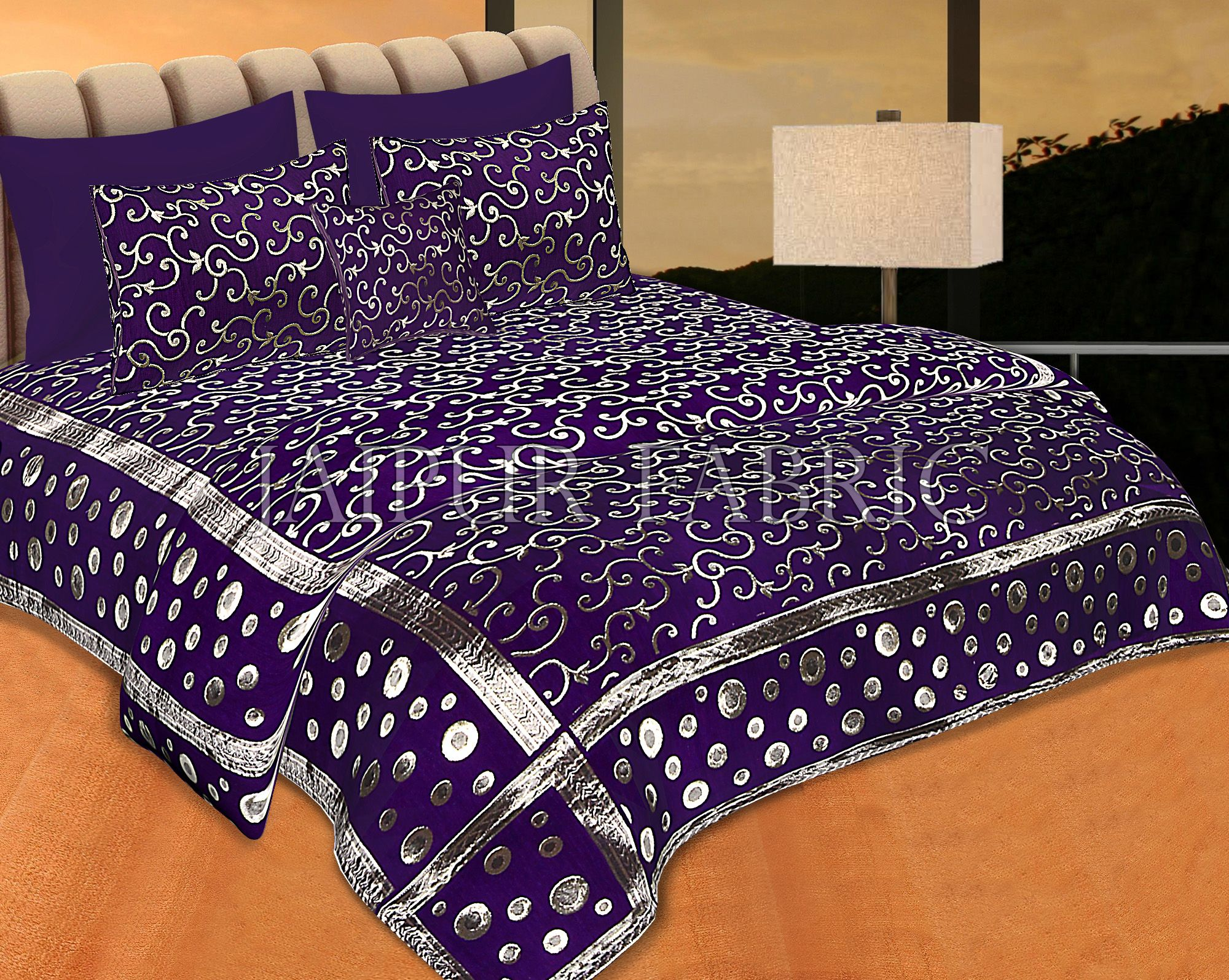 Purple Color Tropical Design Festive Double Bed Sheet