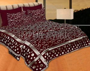 Mahroon Color Tropical Design Festive Double Bed Sheet