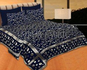 Navy Blue Color Tropical Design Festive Double Bed Sheet