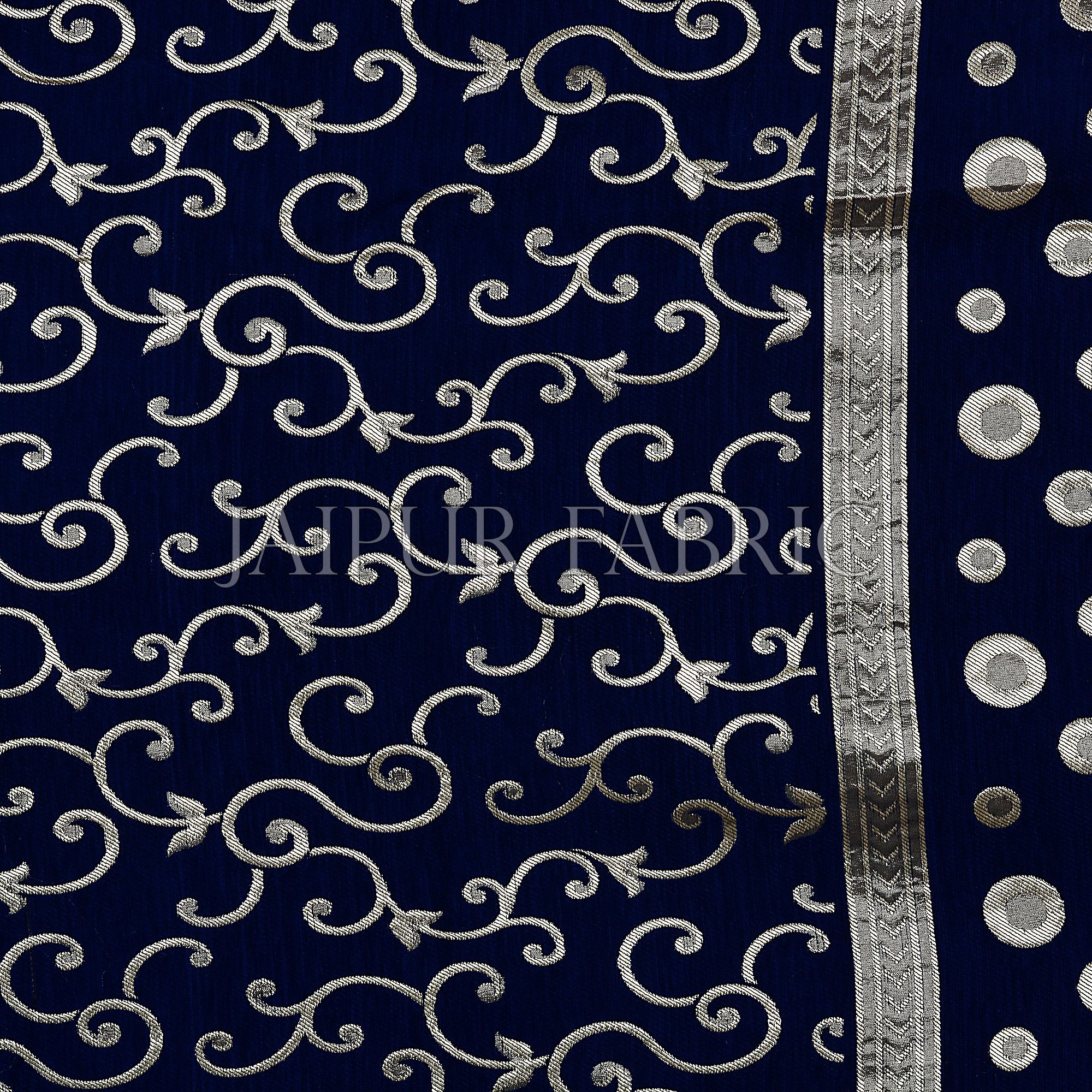 Navy Blue Color Tropical Design Festive Double Bed Sheet