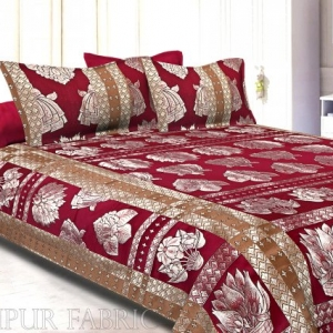 Maroon Base Golden Silk Gamla Pattern Silk Double Bedsheet