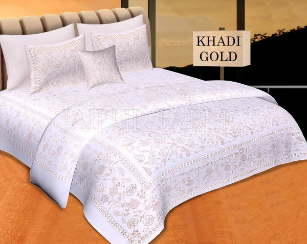 White Base With Golden Floral hand Block Print Double Cotton Bed Sheet